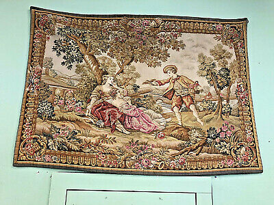 """Antique French Romance Scene Large Wall Tapestry decor pre - 1930s  60"""" x 42"""""""