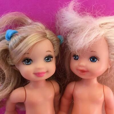 Barbie Child Kid Little Sister Kelly Shelly Pair Of Blonde Hair Baby Dolls 1990s