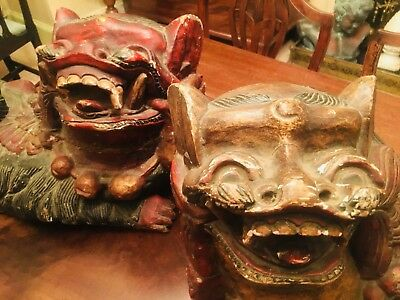 """Antique 19th Century Painted Oriental """"Dogs Of Foo"""" Imperial Lions """"Dogs of Fo"""""""
