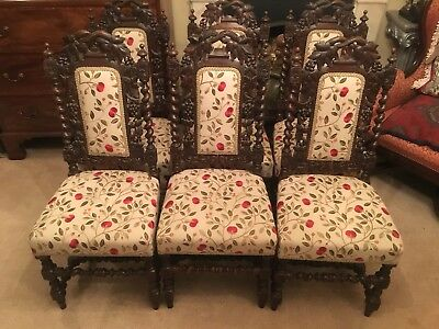 Antique Matched Set Of six Jacobean Revival Chairs