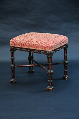 An Exceptional Upholstered Antique Chinese Chippendale Stool George III