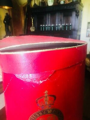 Red Edwardian Christy's Hat Box - Country House Crumpled Shabby Chic Condition