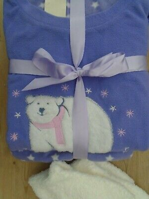 Ladies Women LILAC POLAR BEAR  BRUSHED  FLEECE  PYJAMAS  12 - 14 & FREE SOCKS