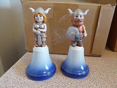 VIKING Man & Woman BELL SET Hand Made Ceramic Glazed Figure BELLS Original Molds