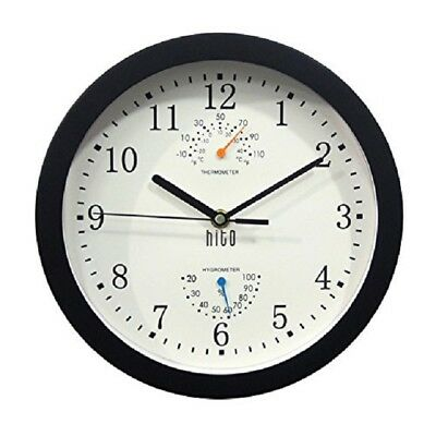 """Black Metal Wall Clock Battery Operated 10"""" Inch Frame Non Ticking Glass Cover"""