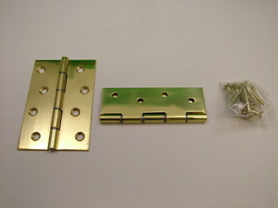 """Pair of polished solid brass hinges complete with screws 100mm/ 4"""" door hinge"""