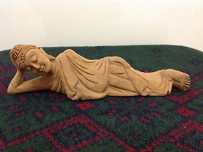 "Handcarved teakwood ""Lying Budda"" statue"