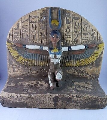 Rare Ancient Egyptian Antique Winged Isis Statue Stela 1658-1423 Bc.