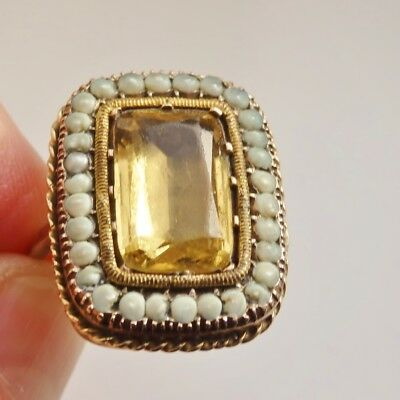 Rare Large Antique Georgian 9ct Gold Citrine & Pearl Ring c1730