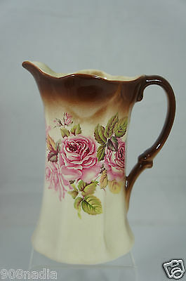 Vintage Victorian Porcelain Pitcher Pink Roses Leaves Beautiful