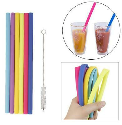 Reusable Plastic Drinking Straws Cleaning Brushes Set Smoothie Travel BPA-Free