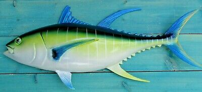 """Tuna Hand Blue Fin Painted 28"""" Replica Wall Mount Sculpture Game Fishing"""
