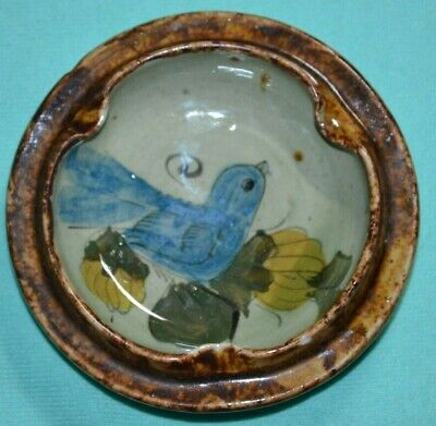 Vintage Ashtray Clay Pottery Handmade Hand Painted Signed Blue Bird Small Old