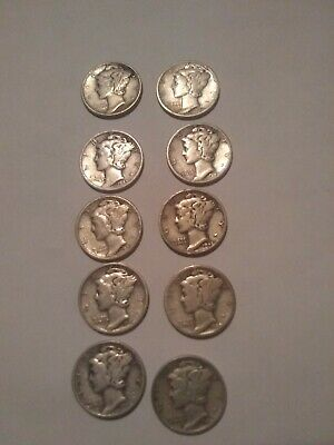 Lot of 10 Mercury Silver Dimes - 90% Silver 1940s Dated Coins