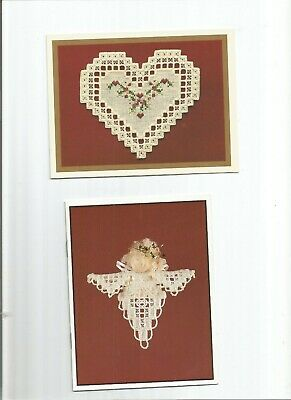 2 Hardanger Cards - Angel And Heart