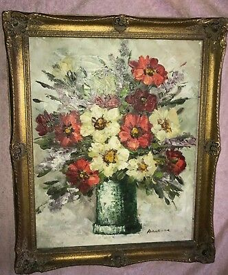 VINTAGE SIGNED Robert Cox Still Life  Roses In Vase Oil On Canvas PAINTING