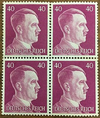 4 block Nazi Germany Third Reich Hitler 40 mark stamp MNH WW2 ERA. #510