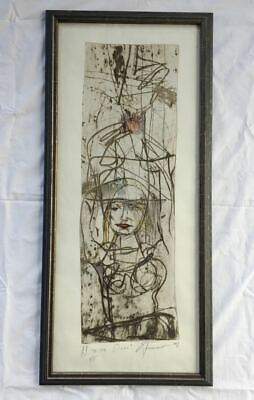 Large Modern Abstract Drypoint Etching Print. Hand Painted Color Woman Signed