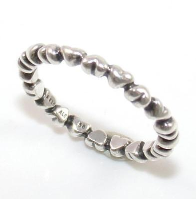 342a6e4b2 Authentic Pandora Sterling Silver Forever Heart Love Eternity Ring Size 7.75