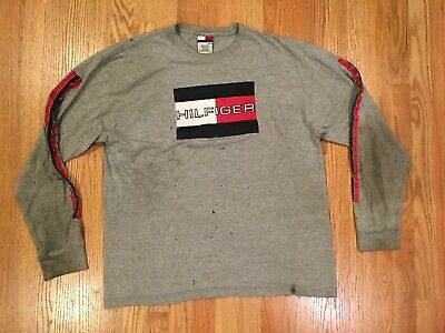 7f9232eb6 VTG 90s Tommy Hilfiger L/S T Shirt Mens XL Flag Logo Spell Out Distressed  Tee