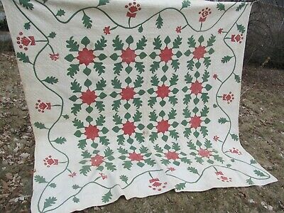 Beautiful, Very Striking, VERY EARLY ANTIQUE APPLIQUE QUILT, c1850, Crafts, GIFT