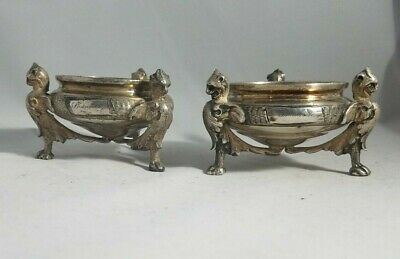 Pair of Antique Silverplated Open Salts with Gargoyles