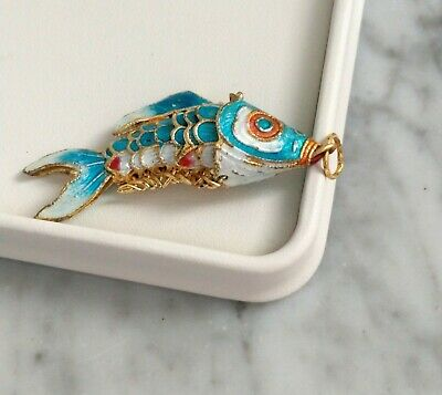 VTG. Chinese Export Blue Enamel Gold Tone Articulated Gold Fish Necklace Pendant