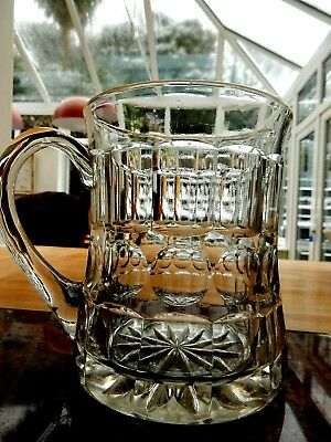 """Vintage Thick & Chunky Cut Glass Custard or Water Jug 1 Litre  6"""" Tall Pimms Ice"""