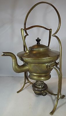 Antique English Arts & Crafts Brass Spirit Kettle on Stand (Reg. 593928) 1911