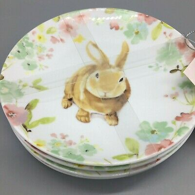 "222 Fifth Easter Sydney Bunny Plates Set of 4 Appetizer Dessert Canape 6"" NEW"