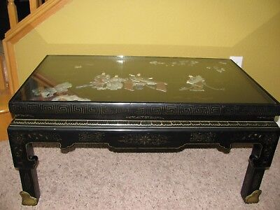Vintage BELJING GOLD INLAID LACQUER Chinese Coffee Table w/ Hardstone artwork As