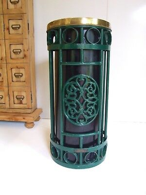 Antique cast iron & brass rubbish bin /industrial/storage/plant stand Table Base