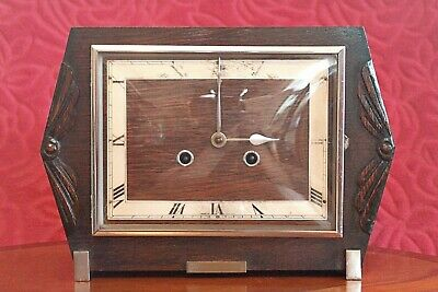 Vintage Art Deco 'Haller' 8-Day Movement Oak Veneered Striking Mantel Clock