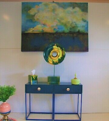 Contemporary wooden sculpture green&blue stand and base block( bespoke item) NEW