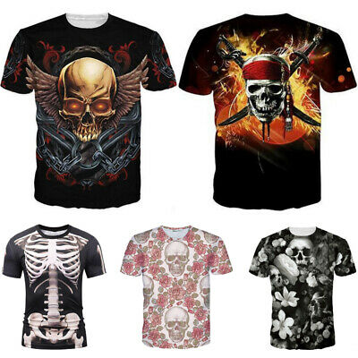Fashion 3D Printed Skull Men T-shirt Clothing Casual Short sleeve Summer Tee Top