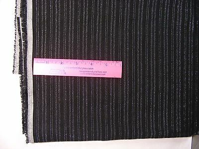 "Wool, Worsted Weight Wool & Rayon Metallic blend - Black/silver - 2 yards, 60""W"
