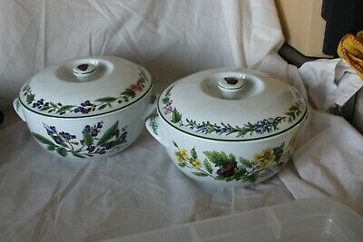Royal Worcester Herbs Sage and Black Mustard Vegetable Dish and Cover x2
