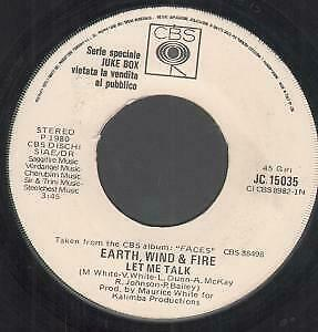 """EARTH,WIND AND FIRE / BILLY JOEL Let Me Talk/don't Ask Me Why 7"""" VINYL Italy"""