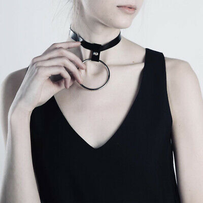 Women's Leather Harness Choker Garter O-Ring Gothic Collar BDSM Fetish Necklace