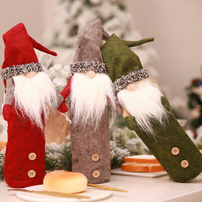 Christmas santa claus non-woven coat hat wine bag bottle cover topper xams giftM