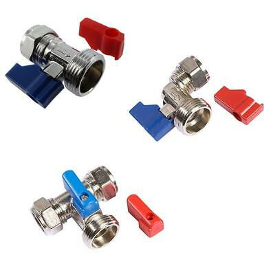 Washing Machine Valve Red & Blue Handle, 15mm x 3/4-inch BSP WRAS Approved