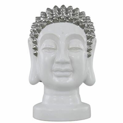 24.5cm White Buddha Head Decoration with silver detail for Home Decor