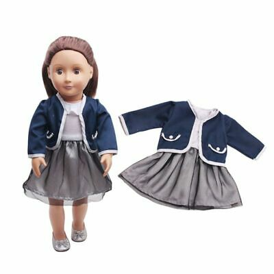 2Pcs/Set Girl Baby Doll Clothes Skirt Coat Dress For 18inch Dolls DIY Kid Gifts