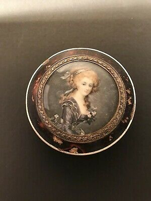 Quality Antique French Hand Painted Miniature  Portrait Snuff Box Napoleon Era