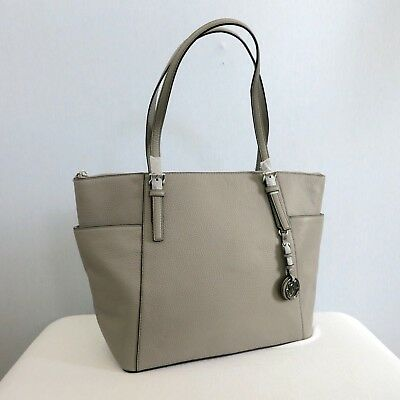 cd3b83b2e4cd MICHAEL KORS Jet Set Item East West Top Zip Tote Large Size Pearl Grey MSRP  $348