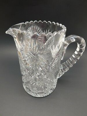 Vintage Cut Glass Crystal Pitcher ABP? 5lbs Light Scratches
