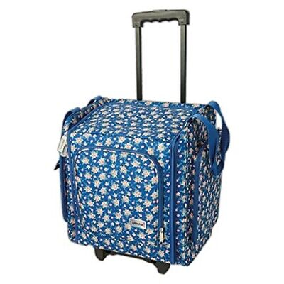 Docrafts Deluxe Wheelable Craft Tote Trolley Case 'navy Floral' Hobby Storage