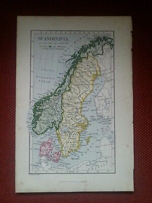 1878 Map of Scandinavia Norway Sweden Denmark by Ravenstein Virtue Antique