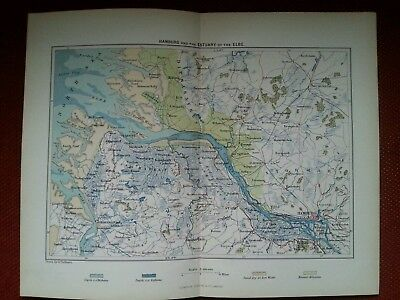 1878 Map of Hamburg Germany and the Estuary of the River Elbe Antique