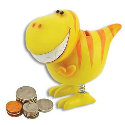 Smiling Bobble Yellow Children's T-Rex Dinosaur Bank w/ Spring Legs Piggy Bank *